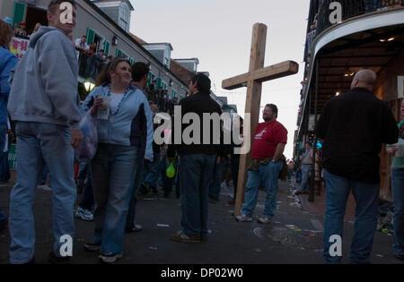 Feb 26, 2006; New Orleans, LA, USA; Pentacostal street preachers are a regular fixuture on Bourbon Street in the - Stock Photo