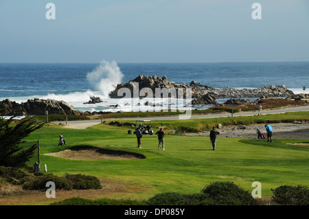 Pacific Grove Golf Links is situated on the tip of scenic Monterey Peninsula, overlooking Point Pinos and the Pacific - Stock Photo