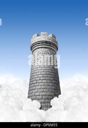 A concept image showing a brick made chess castles turret in the clouds on a blue sky background - Stock Photo