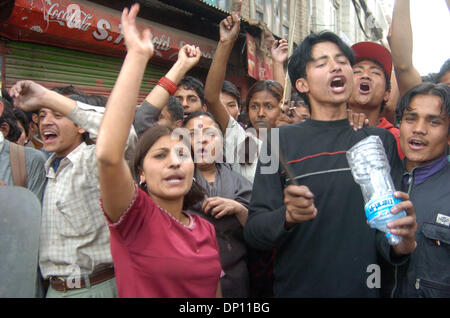 Apr 11, 2006; Kathmandu, NEPAL; Nepali People in Democracy movement: Nepali people are flouting an imposed curfew - Stock Photo