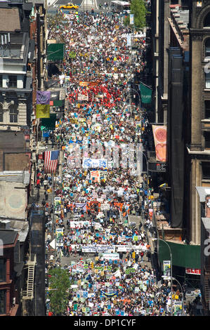 Apr 29, 2006; New York, NY, USA; Anti-war protesters marching down Broadway in NYC call for a  pull out of Irag. - Stock Photo