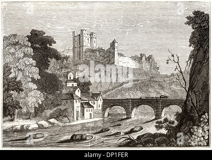 View over River Swale toward Richmond North Yorkshire England UK. Victorian woodcut circa 1845. - Stock Photo
