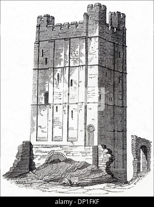 Keep of Richmond Castle North Yorkshire England UK. Victorian woodcut circa 1845. - Stock Photo