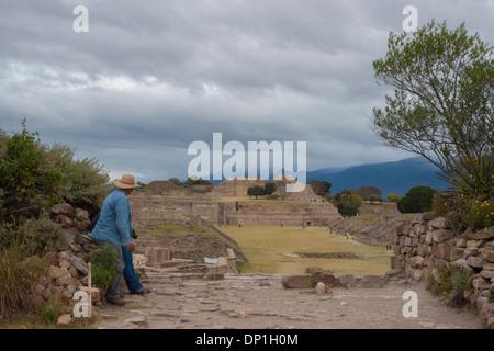 Unesco site Monte Alban's ruins. Oaxaca. Mexico - Stock Photo