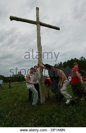 May 06, 2006; Red Bay, AL, USA; National Knights of the Ku Klux Klan, rally near Red Bay, Franklin County, Alabama. - Stock Photo