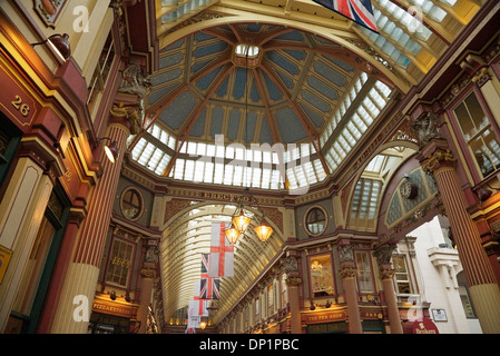 A low angle view of Leadenhall Market in the City of London, UK. - Stock Photo