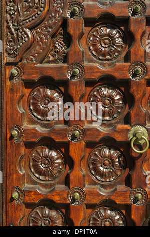 Wooden design of the door of Jummah Masjid, a mosque in Port Louis dating from the 1850s, Mauritius. - Stock Photo