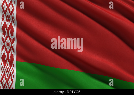 Flag of Belarus waving in the wind - Stock Photo