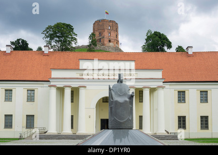 Monument of King Mindaugas in front of the National Museum, the Gediminas Tower at the back, Vilnius, Vilnius district - Stock Photo