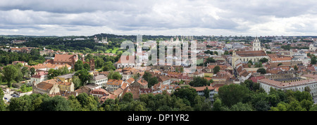 View from the Gediminas Tower of Vilnius, Senamiestis or Vilnius Old Town, Vilnius, Vilnius district, Lithuania - Stock Photo