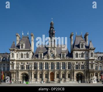 Hotel de Ville, Town Hall of Paris, Paris, Île-de-France, France - Stock Photo