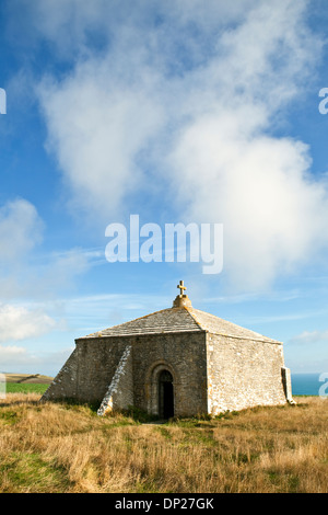 A view of St Aldhelm's Chapel on St Aldhelm's Head, on the Jurassic Coast in Dorset UK. Also called St Alban's Head - Stock Photo