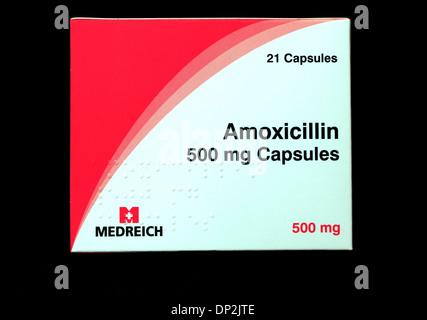 Amoxicillin 500 mg tablets, capsules, pack, antibiotic medicine, prescription, prescribed medicines penicillin tablet - Stock Photo