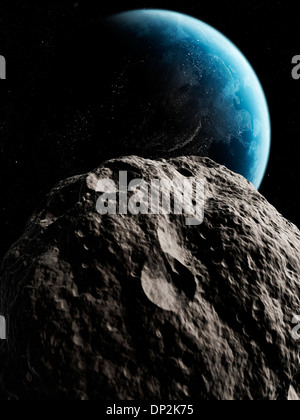 Asteroid approaching Earth, artwork - Stock Photo