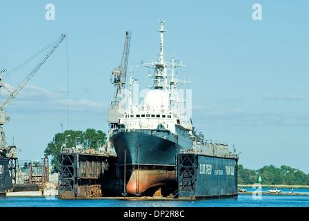 Ship in dry dock. Harbor. Baltiysk, Russia - Stock Photo