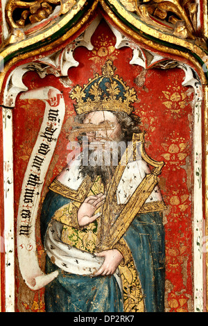 Prophet King David with Harp, medieval rood screen painting, paintings, Thornham, Norfolk, England UK English iconoclastic - Stock Photo