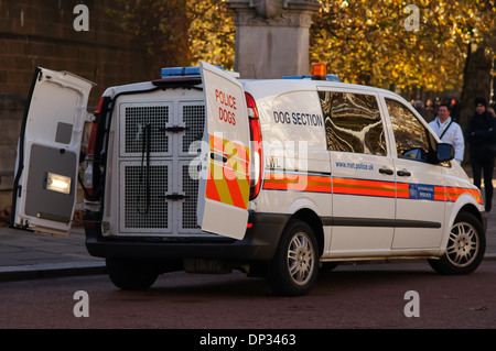 Dog section police van parked on the street, London England United Kingdom UK - Stock Photo