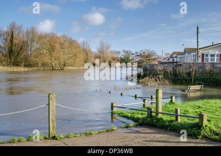 Iford Bridge Home Park Bournemouth Dorset UK 7th January 2014 Floodwater