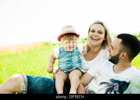 Portrait of Family Outdoors, Mannheim, Baden-Wurttemberg, Germany - Stock Photo