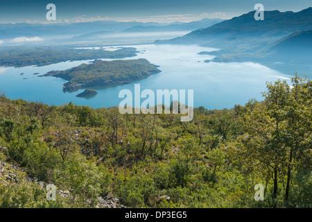 Piva Lake, Montenegro, Large Lake in Montenegran mountains - Stock Photo