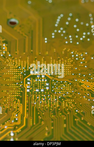 macro photography of pcb of mother board - Stock Photo
