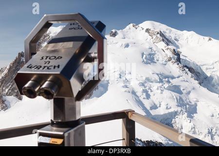 View, Aiguille du midi cable car - Panoramic Mont-Blanc Gondola, Chamonix, French Alps, Savoie, France, Europe - Stock Photo