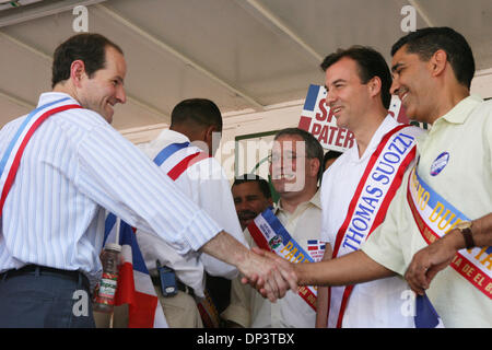 Jul 16, 2006; Bronx, NY, USA; Candidate for New York governor ELIOT SPITZER shakes hands with ADRIANO ESPALLIAT - Stock Photo