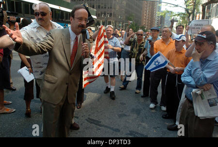 Jul 16, 2006; Manhattan, NY, USA; Congressman ELIOT ENGEL speaks as dozens of people rally outside the Syrian Mission - Stock Photo