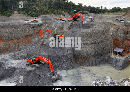 excavator in an opencast gold mine in Columbia, Chocó Province, Latin America - Stock Photo