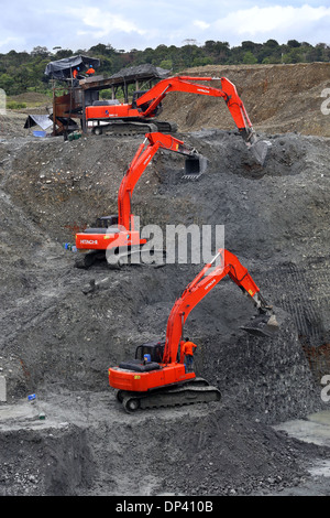 Front loader in a commercial opencast gold mine, Chocó Privince, Columbia, Latin America - Stock Photo
