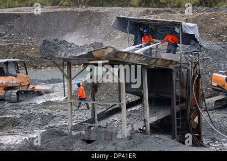 Water canons used at a commercial opencast gold mine, Chocó Privince, Columbia - Stock Photo