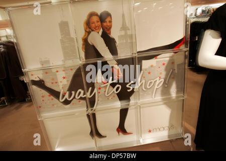 Sep 06, 2006; San Diego, CA, USA; 'Way to Shop!' (one of Macy's new slogans) signage in the Macy's store at Westfield - Stock Photo