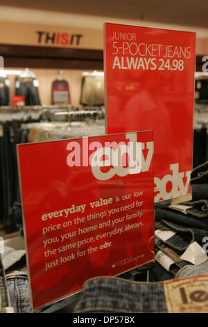 Sep 06, 2006; San Diego, CA, USA; 'EDV' ( Every Day Value  - one of Macy's new slogans) signage in the Macy's store - Stock Photo