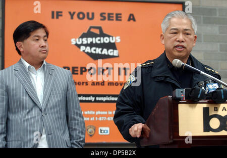 Sep 10, 2006; San Francisco, CA, USA; BART Director JAMES FANG, left, and BART Chief of Police GARRY GEE announce - Stock Photo