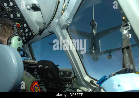 Sep 13, 2006; Fairfield, CA, USA; A KC-10 Extender refueling airplane is seen from the cockpit during a C-17 Globemaster - Stock Photo