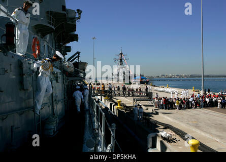 Sep 18, 2006; San Diego, CA, USA; People's Liberation Army sailors prepare for a tour by Chinese Americans and press, - Stock Photo