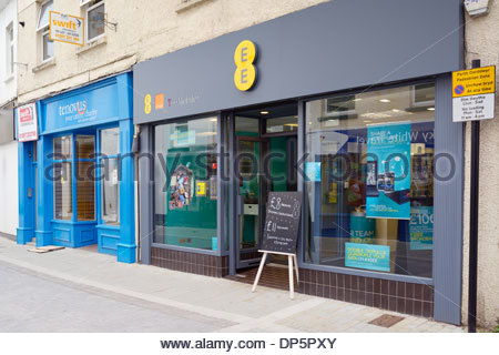 EE mobile phone shop, Haverfordwest, Wales UK - Stock Photo