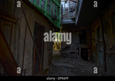 Wooden old houses in Old Tbilisi Georgia - Stock Photo