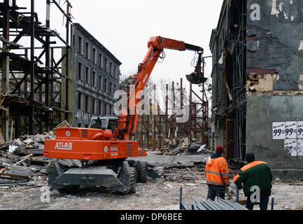 FILE - An archive picture dated 19 November 2013 shows workers demolishing a rebuilt 'Berlin Street' from the early - Stock Photo
