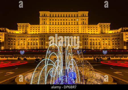 The Palace of the Parliament in Bucharest, Romania - Stock Photo