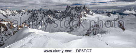 Panoramic view of the Mont-Blanc mountain range from the Aiguille du Midi - Chamonix (France) - Stock Photo