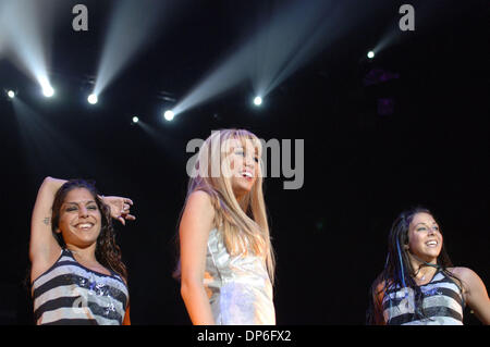 Oct 15, 2006; Norfolk, VA, USA; Singer HANNAH MONTANA aka MILEY CYRUS  brings the pop to the crowd during a concert - Stock Photo