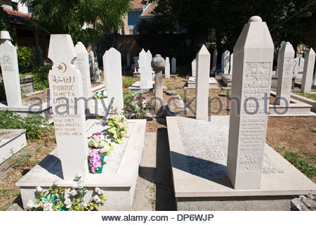 muslim cemetery,old town,east side,mostar,bosnia and herzegovina,europe - Stock Photo