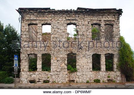 bombed building,west side,mostar,bosnia and herzegovina,europe - Stock Photo