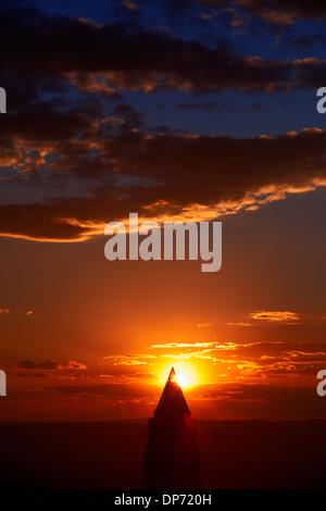 Frankfurt Messeturm at sunset - Stock Photo