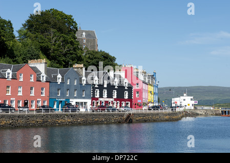 Colourful buildings on waterfront at harbour of coastal town, Tobermory, Isle of Mull, Inner Hebrides, Scotland, - Stock Photo