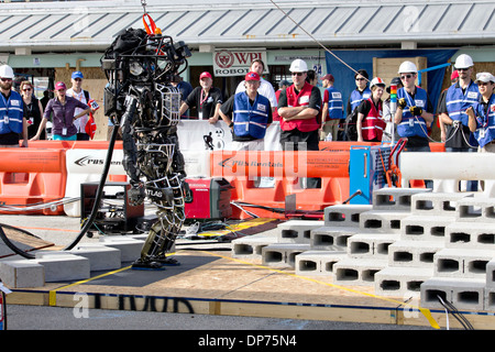 Boston Dynamic's Atlas robot during the DARPA Rescue Robot Showdown at Homestead Miami Speedway December 20, 2013 - Stock Photo