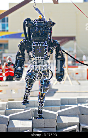 Ian, an Atlas robot with the IHMC Robotics team during the DARPA Rescue Robot Showdown at Homestead Miami Speedway - Stock Photo