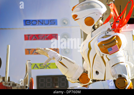 NASA's Valkyrie Humanoid Robot during the DARPA Rescue Robot Showdown at Homestead Miami Speedway December 20, 2013 - Stock Photo