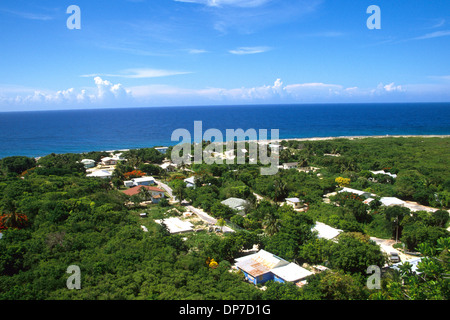 The village of Spot Bay at the northeastern end of Cayman Brac, viewed from Peter's Lookout, Cayman Islands, BWI - Stock Photo